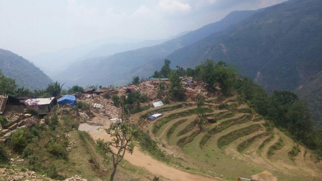 The devastated Mandre village in Barpak of Gorkha district