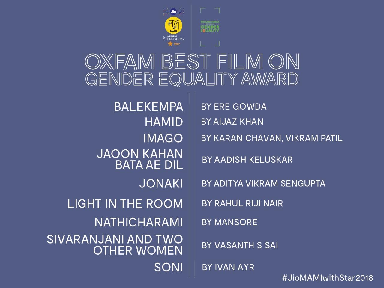 Shortlisted films for Oxfam Best Film on Gender Equality