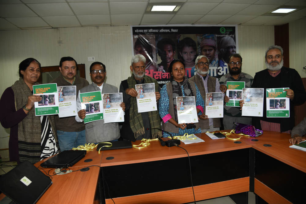 Press release of Oxfam Inquality report in Patna, bihar