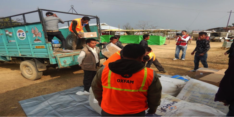 Oxfam India distributing relief materials to people in Manipur
