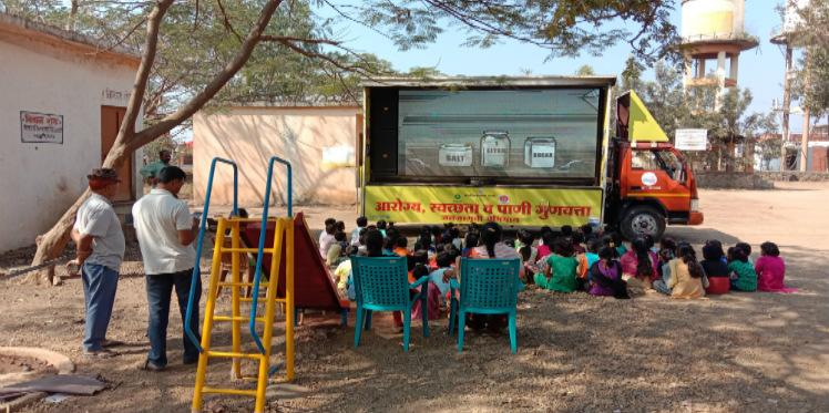 Oxfam India organised Video Van campaign in Mirajwadi village