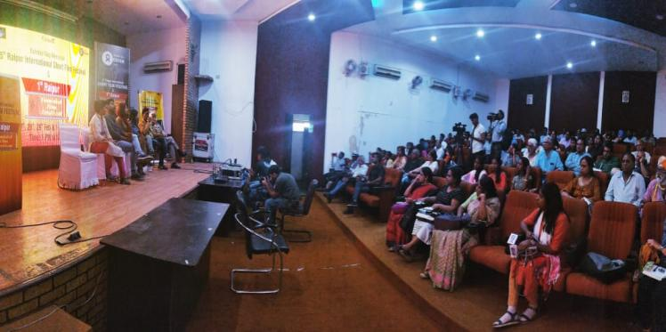 A panel discussion during the first edition of the Raipur Feminist Film Festival held in Raipur