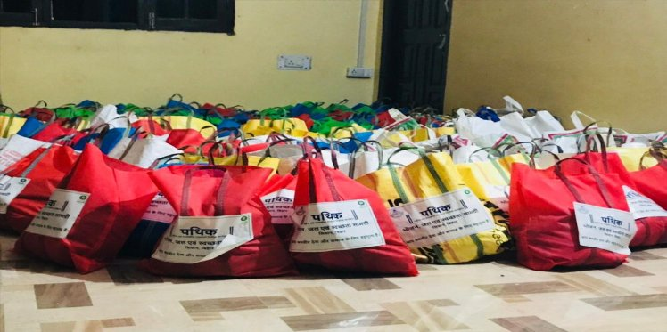 Ration and safety kits packed and ready for distribution in Patna under Project Pathik
