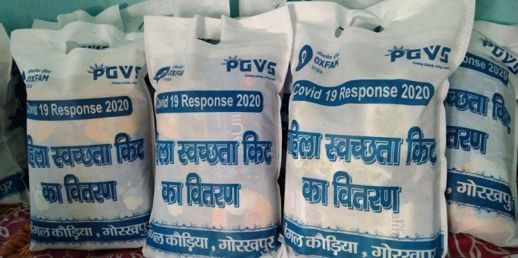 Hygiene kits prepared for distribution