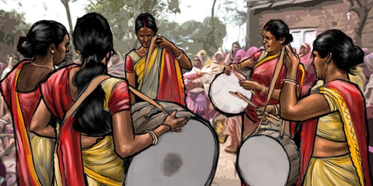 Illustration of women playing drums in Dhibra