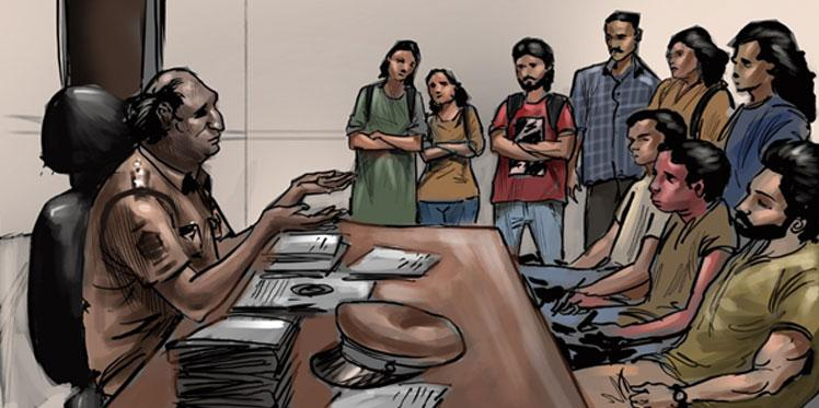 Illustration of a youth collective at a police station