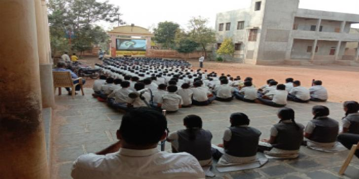 Oxfam India organised Video Van campaign in a school in Karnal village.