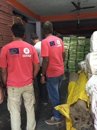 Oxfam's team in Gorkha distributing relief supplies